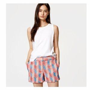 Loft The Riviera Pink Chevron Tweed Shorts Size 4